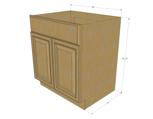 Regal oak sink base unit with 2 false drawers 30 inch for 30 inch kitchen cabinets