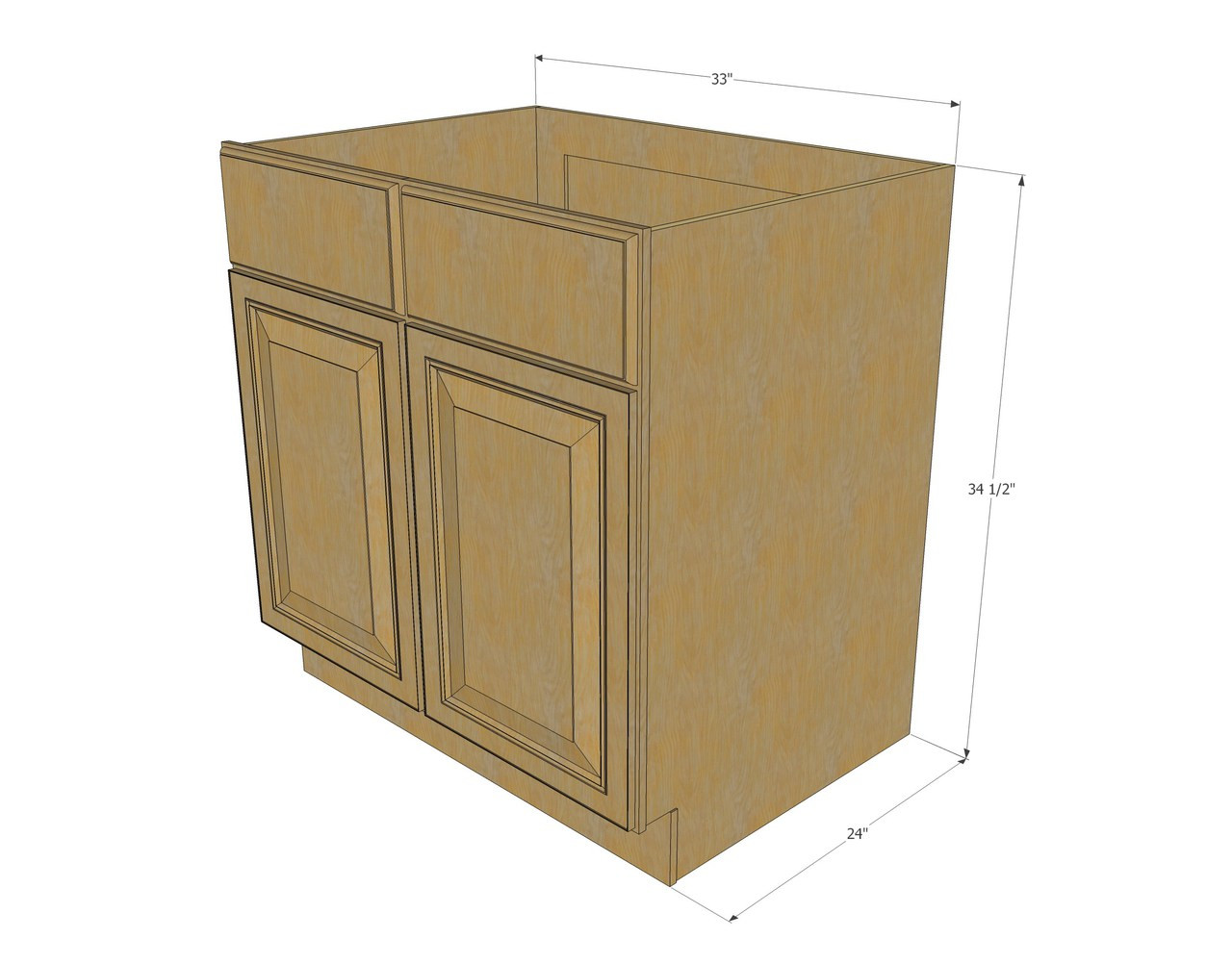 Regal oak sink base unit with 2 false drawers 33 inch for Oak kitchen base units