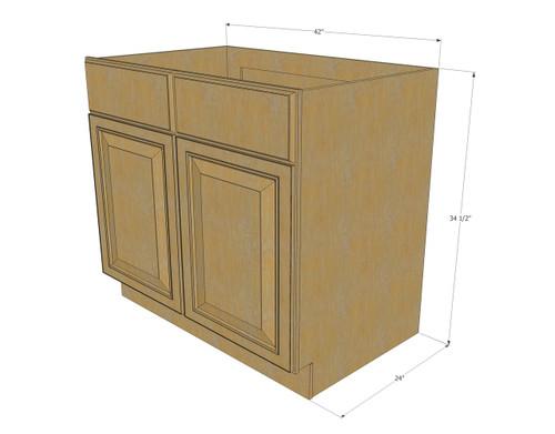 Regal Oak Sink Base Unit with 2 False Drawers 42 Inch - Kitchen ...