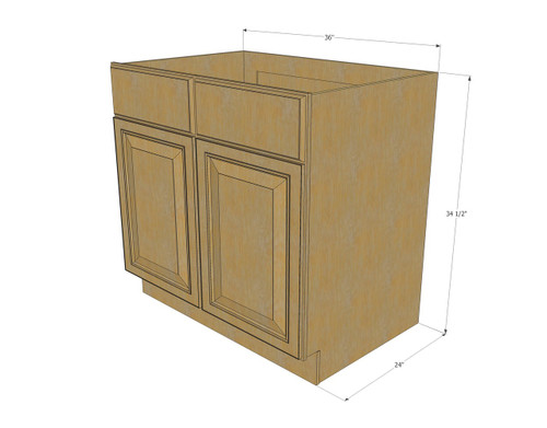Regal oak sink base unit with 2 false drawers 36 inch for Kitchen cabinets 36 inch