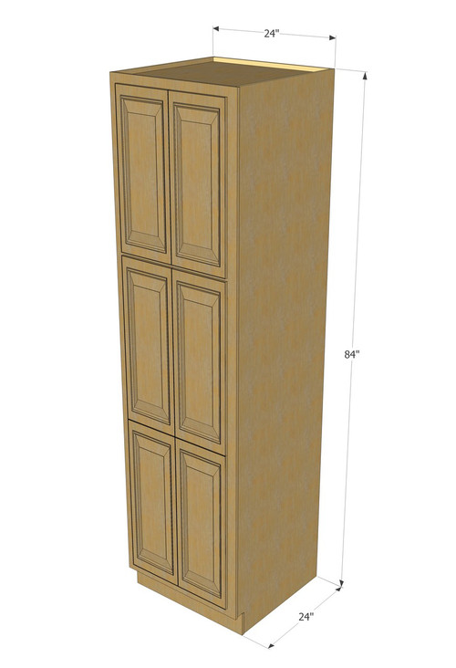 Regal oak pantry cabinet unit 24 inch wide x 84 inch high for 10 inch kitchen cabinet