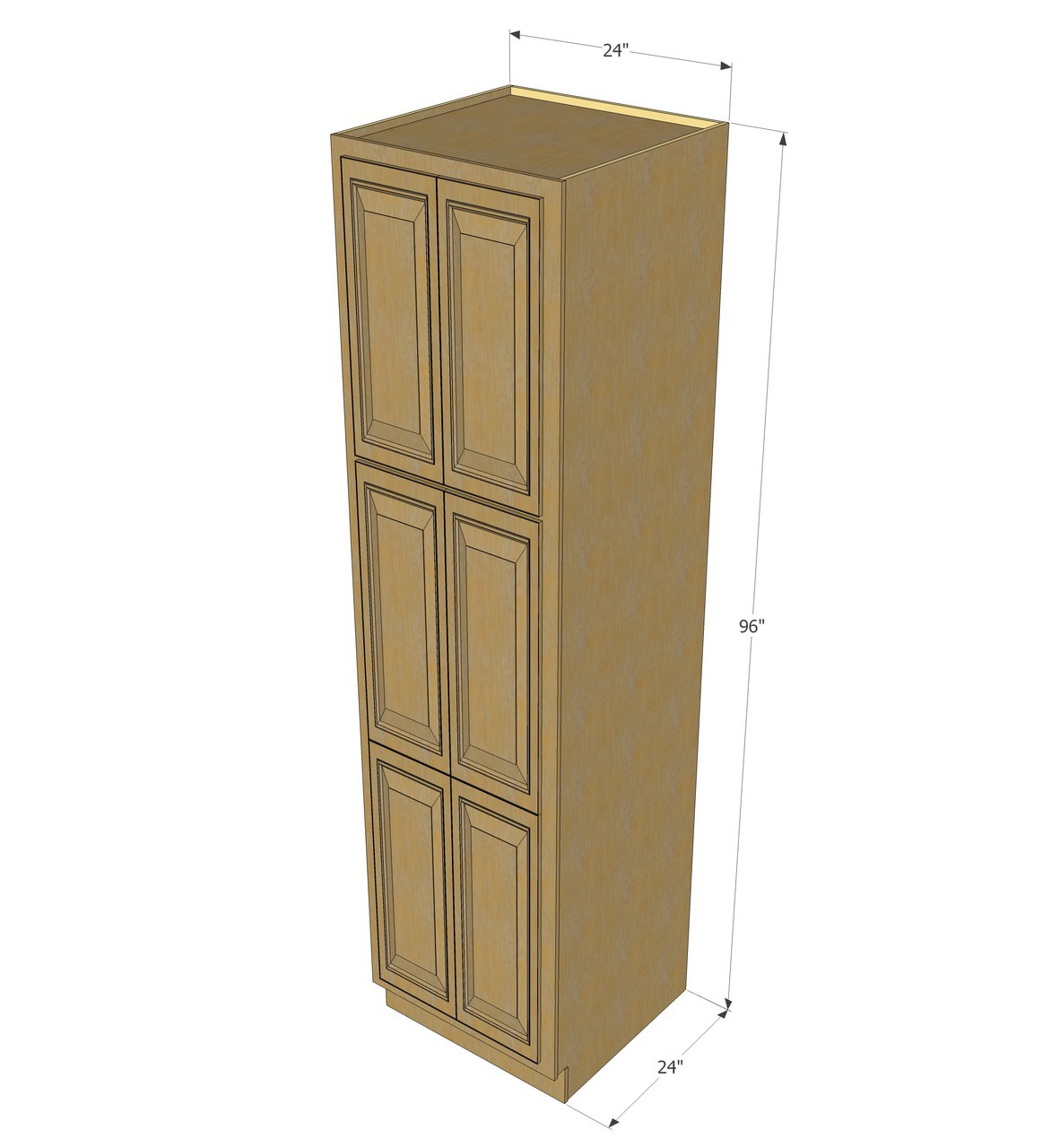 Regal Oak Pantry Cabinet Unit 24 Inch Wide X 96 Inch High