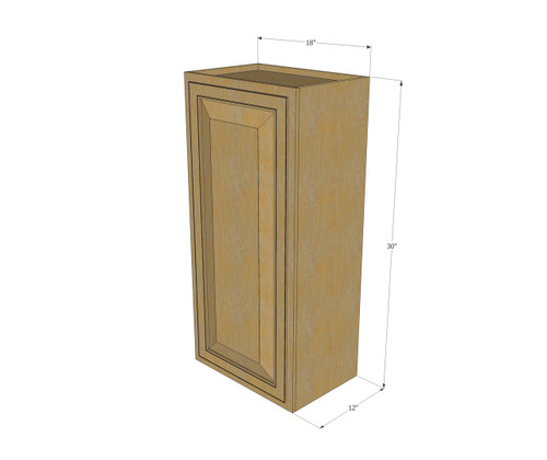 Small single door regal oak wall cabinet 18 inch wide x for 10 inch kitchen cabinet