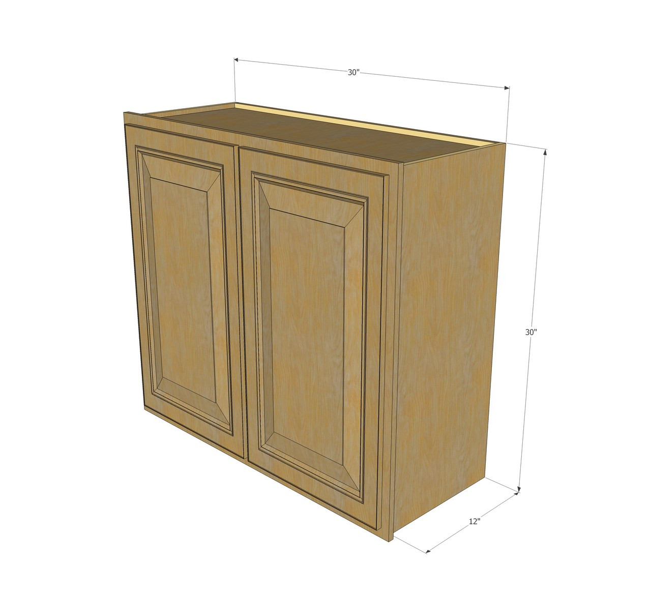 Large Double Door Regal Oak Wall Cabinet 30 Inch Wide X 30 Inch High Kitchen Cabinet Warehouse