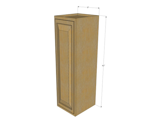 Small Single Door Regal Oak Wall Cabinet 9 Inch Wide X 42 Inch High Kitchen Cabinet Warehouse