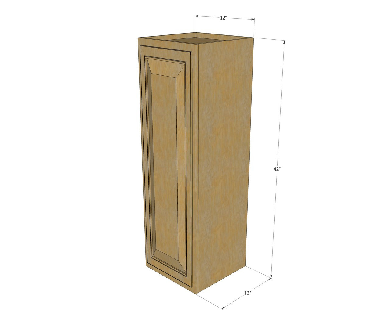 Small single door regal oak wall cabinet 12 inch wide x for Kitchen cabinets 700mm high