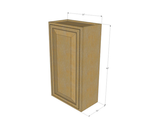 Small single door regal oak wall cabinet 21 inch wide x for Kitchen cabinets 42 high