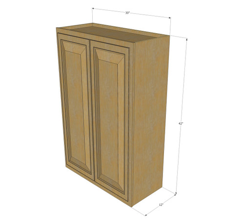 Large double door regal oak wall cabinet 30 inch wide x for Kitchen cabinets 42 high