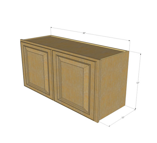 Regal oak horizontal overhead wall cabinet 30 inch wide for 12 inch wide kitchen cabinets