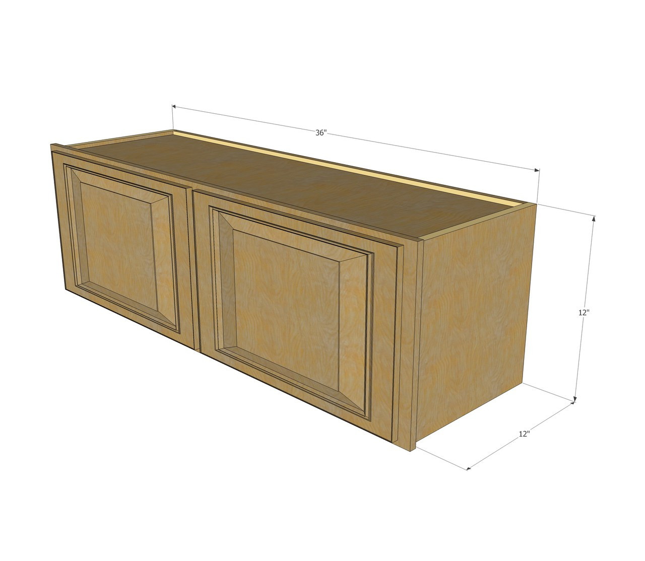 Regal oak horizontal overhead wall cabinet 36 inch wide for Kitchen cabinets 10 x 12
