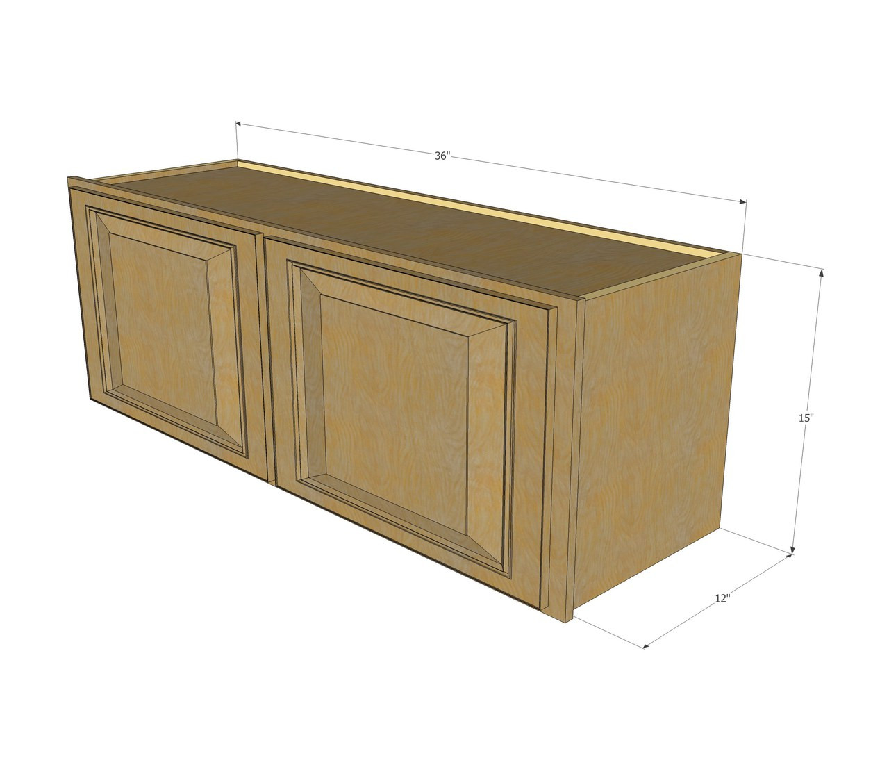 Regal oak horizontal overhead wall cabinet 36 inch wide for Kitchen cabinets 10 x 15