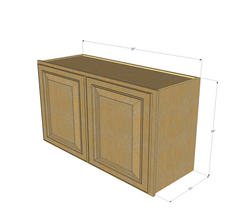 Regal oak horizontal overhead wall cabinet 30 inch wide for 10 inch kitchen cabinet