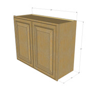 Regal Oak Horizontal Overhead Wall Cabinet - 30 Inch Wide x 24 Inch High
