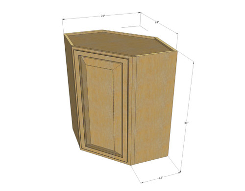 Regal oak diagonal corner wall cabinet 24 inch wide x 30 for Kitchen cabinets 30 x 24