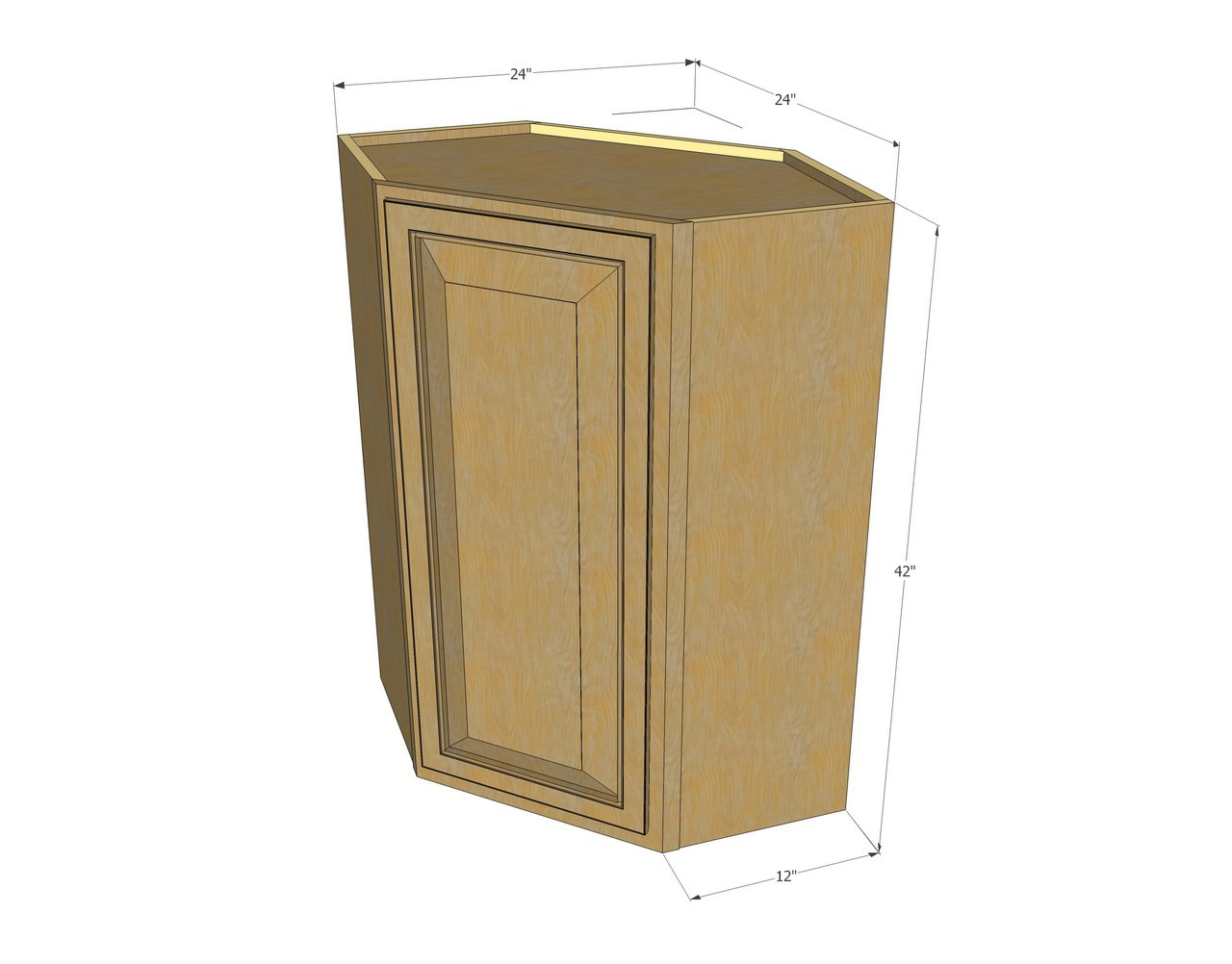 Regal oak diagonal corner wall cabinet 24 inch wide x 42 for Kitchen cabinets 42 inches high