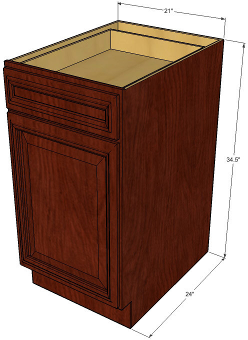 Brandywine maple small base cabinet with 21 inch door for Brandywine kitchen cabinets