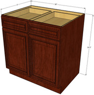 Brandywine Maple Large Base Cabinet with Double Doors & Two Drawers - 36 Inch Width