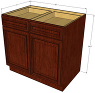 Brandywine Maple Large Base Cabinet with Double Doors & Two Drawers - 42 Inch Width