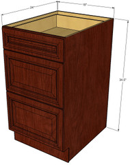 Brandywine Maple 3 Drawer Base Cabinet 18 Inch