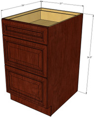 Brandywine Maple 3 Drawer Base Cabinet 21 Inch