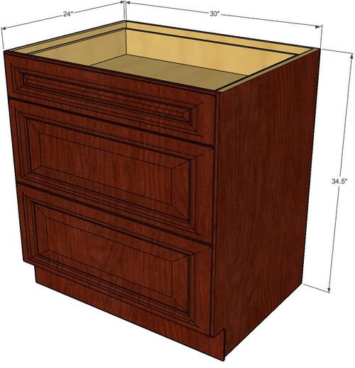 cabinet 30 inch  image 1 brandywine maple 3 drawer base cabinet 30 inch   kitchen cabinet      rh   kitchencabinetwarehouse com