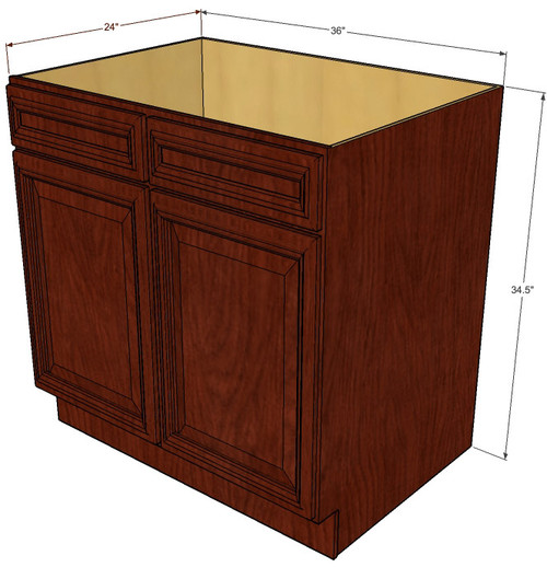 Brandywine maple sink base unit with 2 false drawers 36 for Kitchen cabinets 36 inch