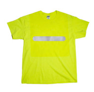 ( TWO POINT )  Hi-Vis  T-shirt - horizontal bar  front & vertical bar rear   Safety Green