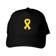 Reflective Black Cap - Awareness Ribbon -  Yellow