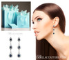 SOLD OUT! - (NEW) BELLA COUTURE  FINE DIAMOND GENUINE BLUE SAPPHIRE MULTI DANGLE DROP EARRINGS in 14K White Gold