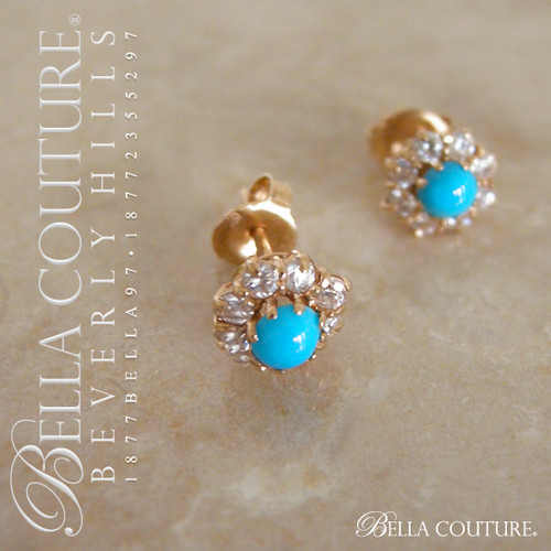 SOLD! - (ANTIQUE) Rare Victorian Gorgeous Persian Turquoise Diamond-Paste 18K Yellow Gold Earrings Circa 1880s
