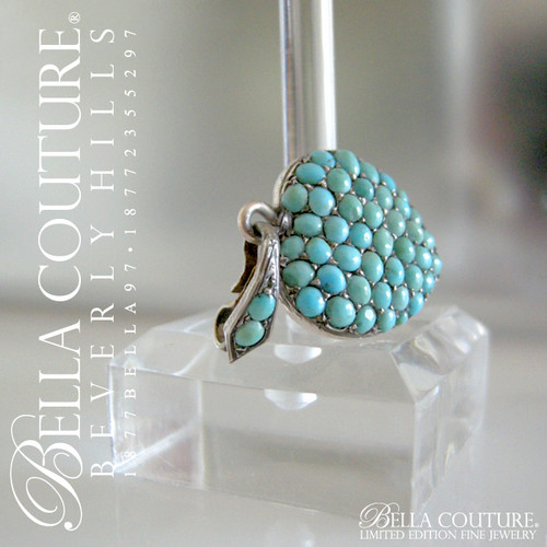 Antique Georgian Sterling Silver Gilt Pav? Turquoise Heart Locket ...