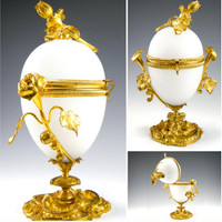 SOLD! - (ANTIQUE) French Palais Royal Gilt Ormolu White Opaline Glass Egg Casket Box