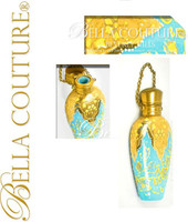 SOLD! - (ANTIQUE) French 19thC Turquoise Blue Opaline Glass Hand Painted Enameled Chatelaine Perfume Scent Bottle