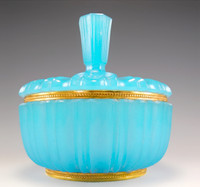 SOLD! - (ANTIQUE) French Turquoise Blue Opaline Glass Ormolu Beaded Mount Box Bowl Art