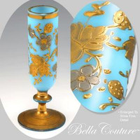 SOLD! - (ANTIQUE) French Floral Turquoise Blue Opaline Hand Painted Enameled Bud Vase Wine Glass