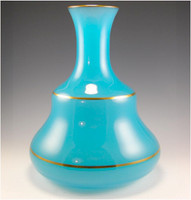 SOLD! - (ANTIQUE) Large French 19th Century Turquoise Blue Opaline Glass Vase
