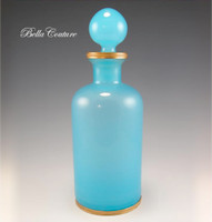 SOLD! - (ANTIQUE) French Turquoise Blue Opaline Glass Perfume Scent Bottle Beaded Gilt Ormolu Mounts