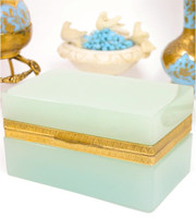 SOLD! - (ANTIQUE) French Palais Royal Pale Aqua Opaline Glass Casket Box Gilt Ormolu