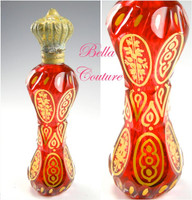 SOLD! - (ANTIQUE) circa 1700s French Cranberry Red Painted Gilt Glass Scent Perfume Bottle