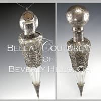SOLD! - (ANTIQUE) Crystal Sterling Silver Overlay Riding Salt Flask-like Laydown Lay Down Hinged Top Perfume Bottle