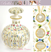 "SOLD! - (ANTIQUE) Stunning Bohemian Layered Hand-painted Glass 6"" Enameled Painted Floral Perfume Bottle Decanter"