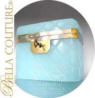 SOLD! - (ANTIQUE) French Aqua Seafoam Green Blue Palais Opaline Glass Casket Caddy Ormolu Sugar Box with original Key