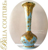 SOLD! - (ANTIQUE) Moser Bohemian French Blue Opaline Vase Bottle Flacon