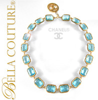 SOLD! - VINTAGE  Haute Couture CHANEL ® Paris Faceted Aquamarine Blue Cushion Cut Crystal Adjustable Length Detachable CC Pendant Enhancer Charm Collier Necklace