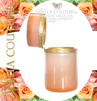 SOLD! - (ANTIQUE) French Rich Peach Caramel Pink Hinged Opaline Glass Casket Box with Fancy Gilt Mounts