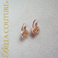 SOLD! - (ANTIQUE) Gorgeous Victorian 18K Rose Gold Circa. 1838 Dainty Cultured Seed Pearl Victorian Earrings Jewelry