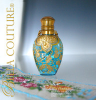 SOLD! - Gorgeous Antique Victorian French Moser Turquoise Blue Hand Painted Enameled Art Glass Chatelaine Perfume Scent Bottle