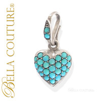 SOLD! - (ANTIQUE) Georgian Sterling Silver Gilt Pavé Turquoise Heart c.1790 - 1840! Charm Pendant