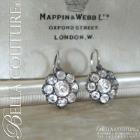 SOLD! - RARE! Gorgeous Antique Georgian Sterling (Faceted Diamond-Shaped) Rock Crystal Earrings Circa. 1790-1800