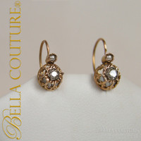 SOLD! - (ANTIQUE) French Victorian circa 1838 18K Rose-Yellow Gold White Pearl & DIAMOND Earrings RARE & Gorgeous! Jewelry Jewellery